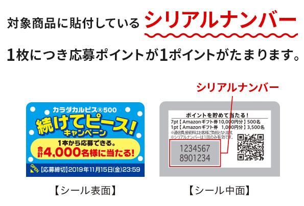 対象商品に貼付しているシリアルナンバー1枚につき応募ポイントが1ポイントがたまります。